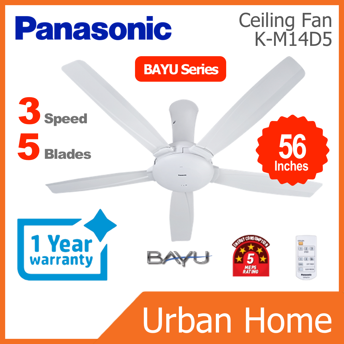"PANASONIC 56"" BAYU 5 Blade Remote Control Ceiling Fan (F-M14DZ/FM14DZ/F-M14D5/FM14D5)"