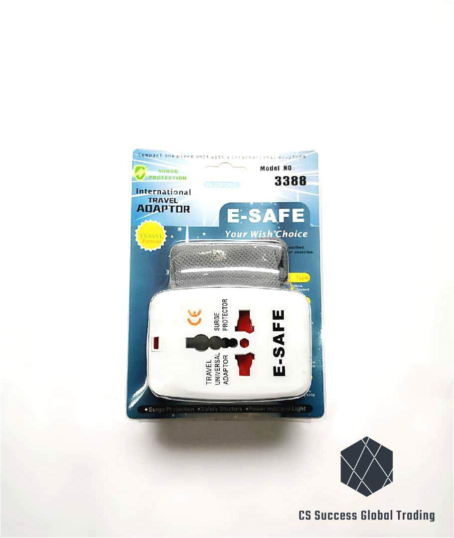 E-Safe International Travel Adaptor + 1 FREE small adaptor bag. (250V)