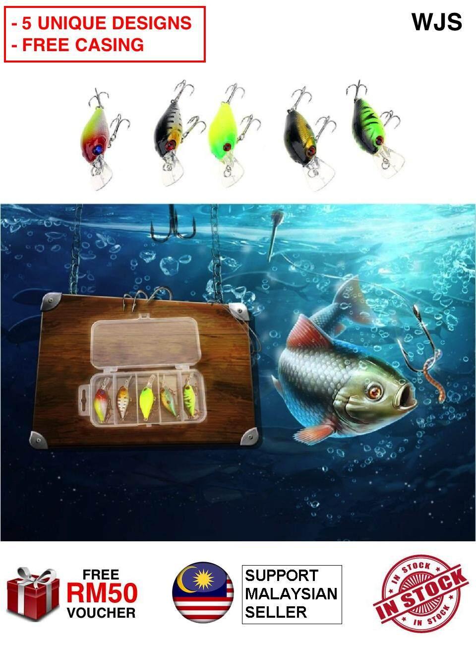 (FREE CASING) WJS Unique Design 5pcs 5 pcs Fish Bait 5cm 4.2g Artificial Lifelike Lure Fishing Crankbait Lure Fish Lure Fishing Baits Umpan Ikan Gewang Ikan MULTICOLOR [FREE RM 50 VOUCHER]