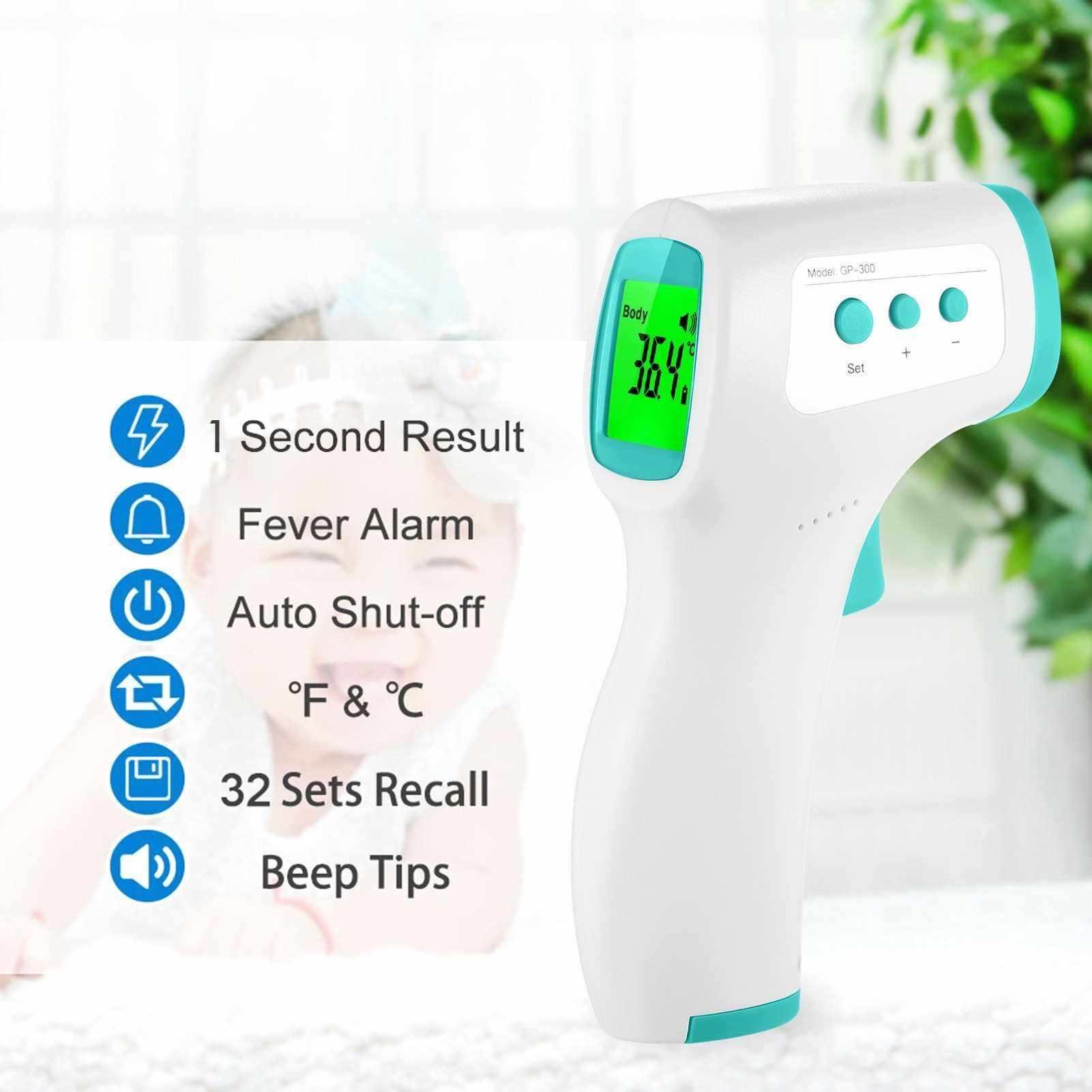 Infrared Thermometer Forehead Thermometer 32 Data Storage Non Contact Thermometers with Tri-colored Backlit LCD Fever Alarm High Precision Handheld Temperature Meter (Green)