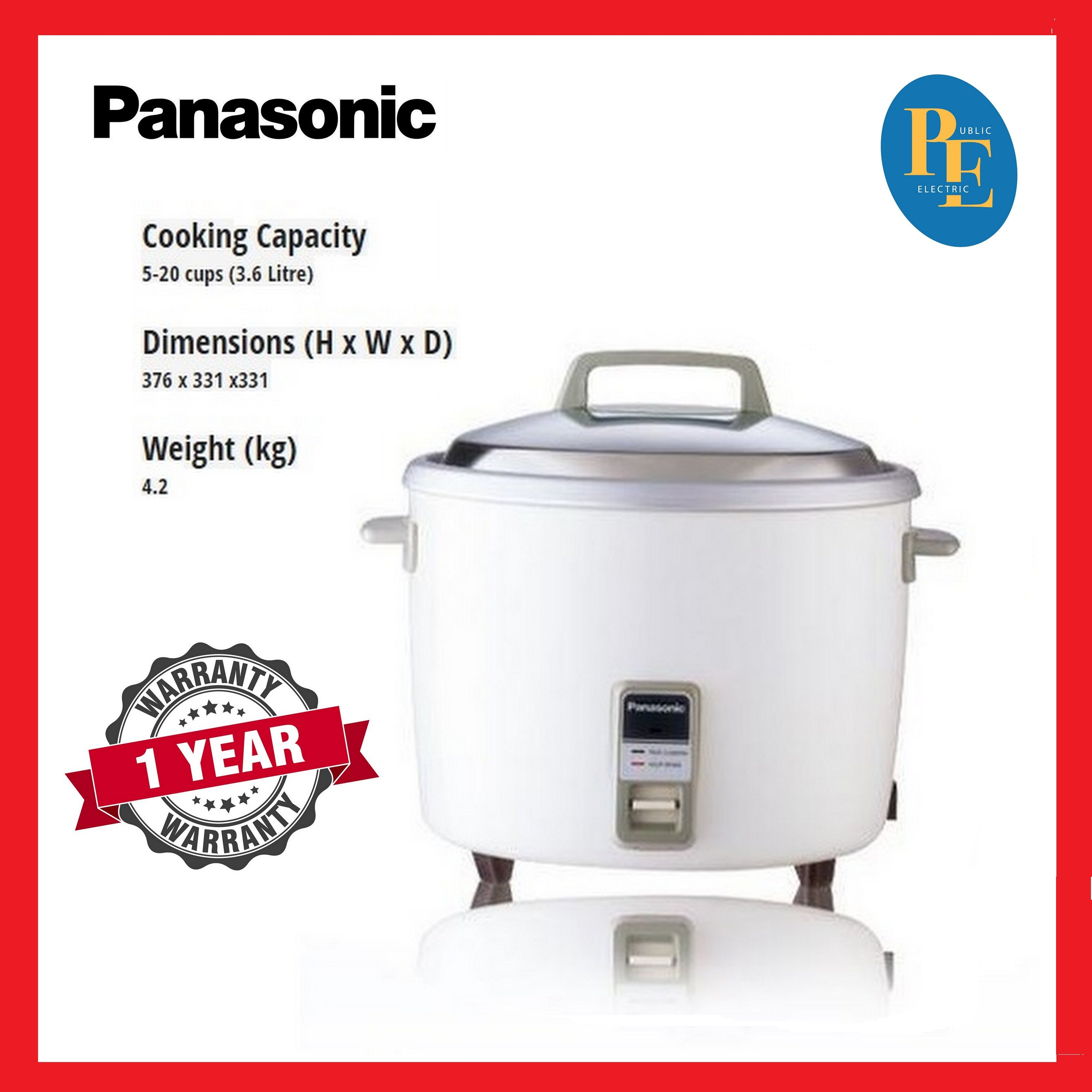 Panasonic Conventional Rice Cooker 3.6Litre - SR-WN36