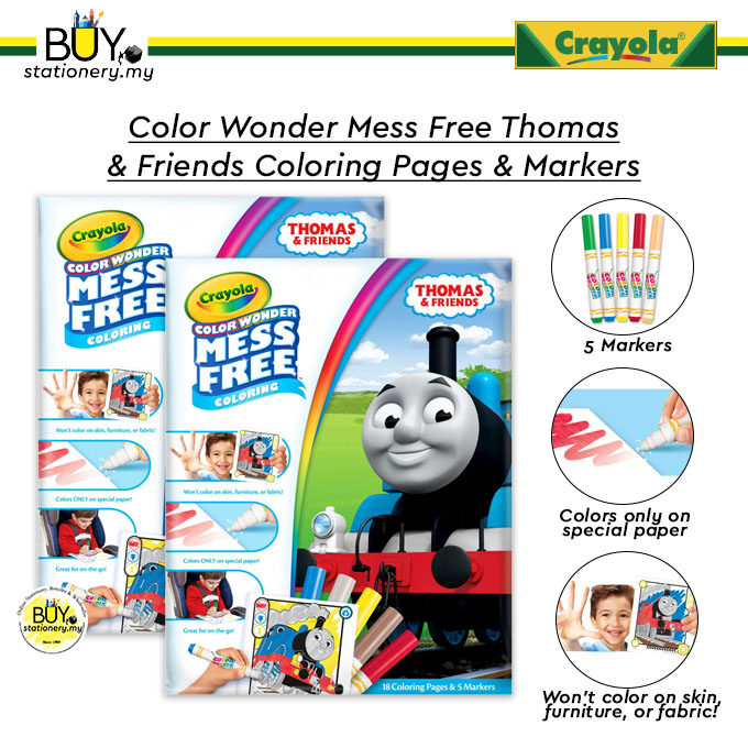 Crayola Color Wonder Mess Free Thomas & Friends Coloring Pages & Markers - (SET)