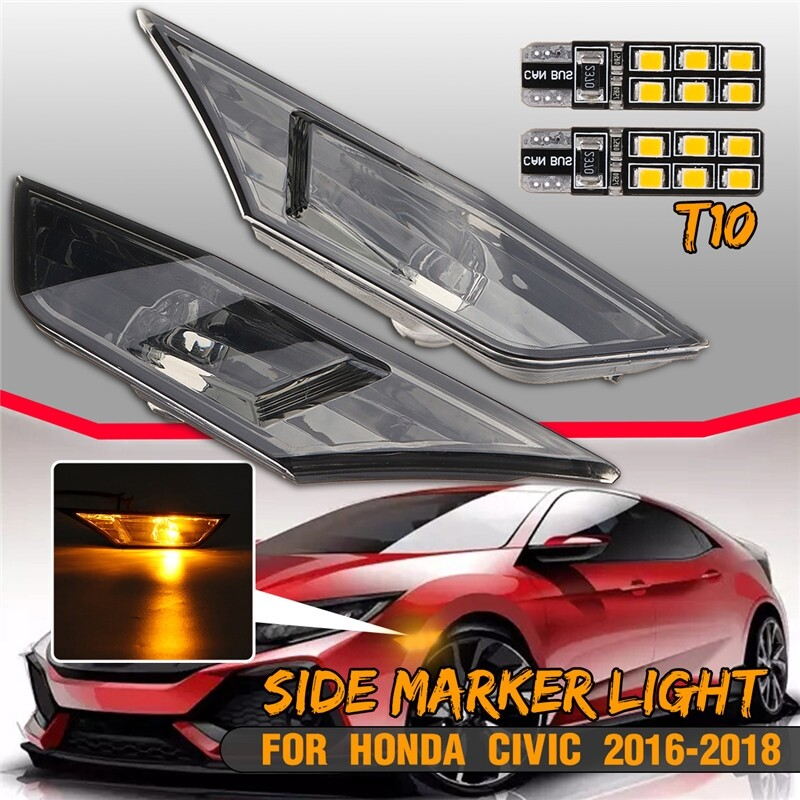 Car Lights - Front 2 Side Marker Lamp With LED Light Smoked Lens For 2016- Honda Civic - Replacement Parts