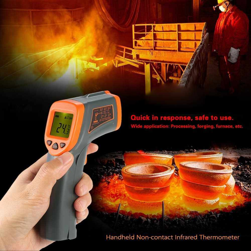 SMART SENSOR -32~380? 12:1 Portable Handheld Digital Non-contact IR Infrared Thermometer Temperature Tester Pyrometer Industrial Infrared Thermometer LCD Display with Backlight Centigrade Fahrenheit (NOT for Humans) (Standard)