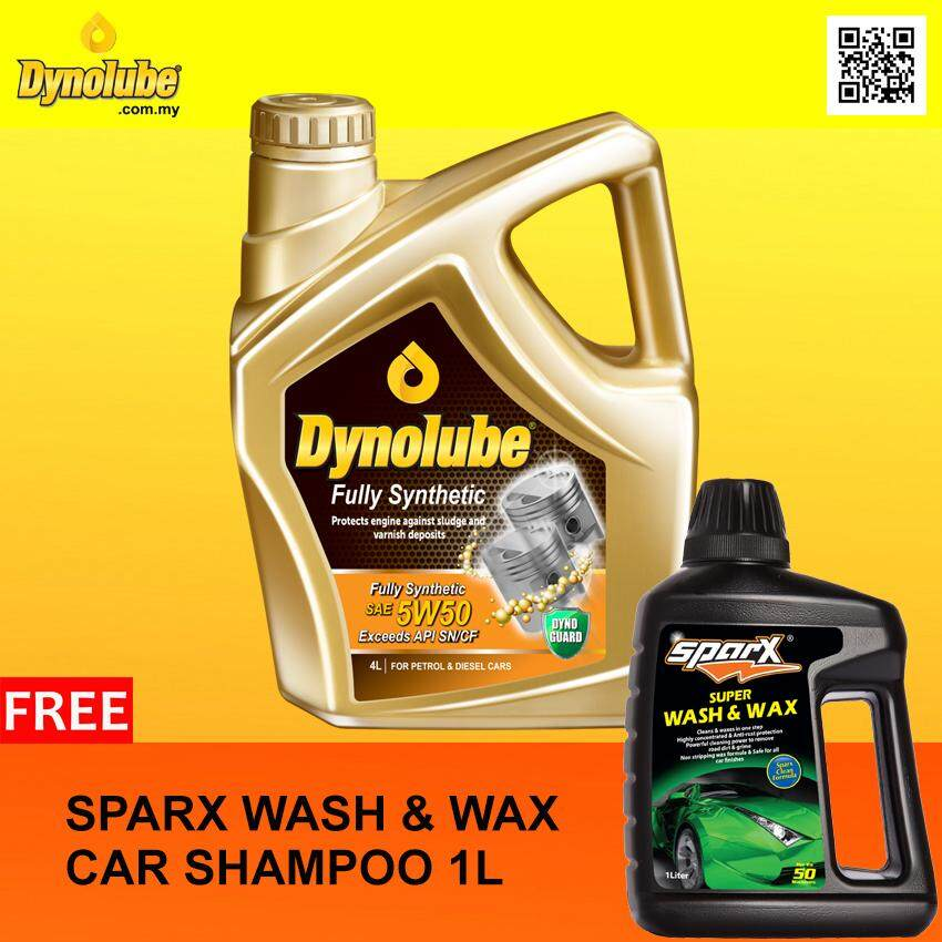 Dynolube 5W50 SN/CF Fully Synthetic 4Liter (For Turbo Engine) Engine Oil FREE Sparx Car Shampoo X 1 [Limited-time Offer]
