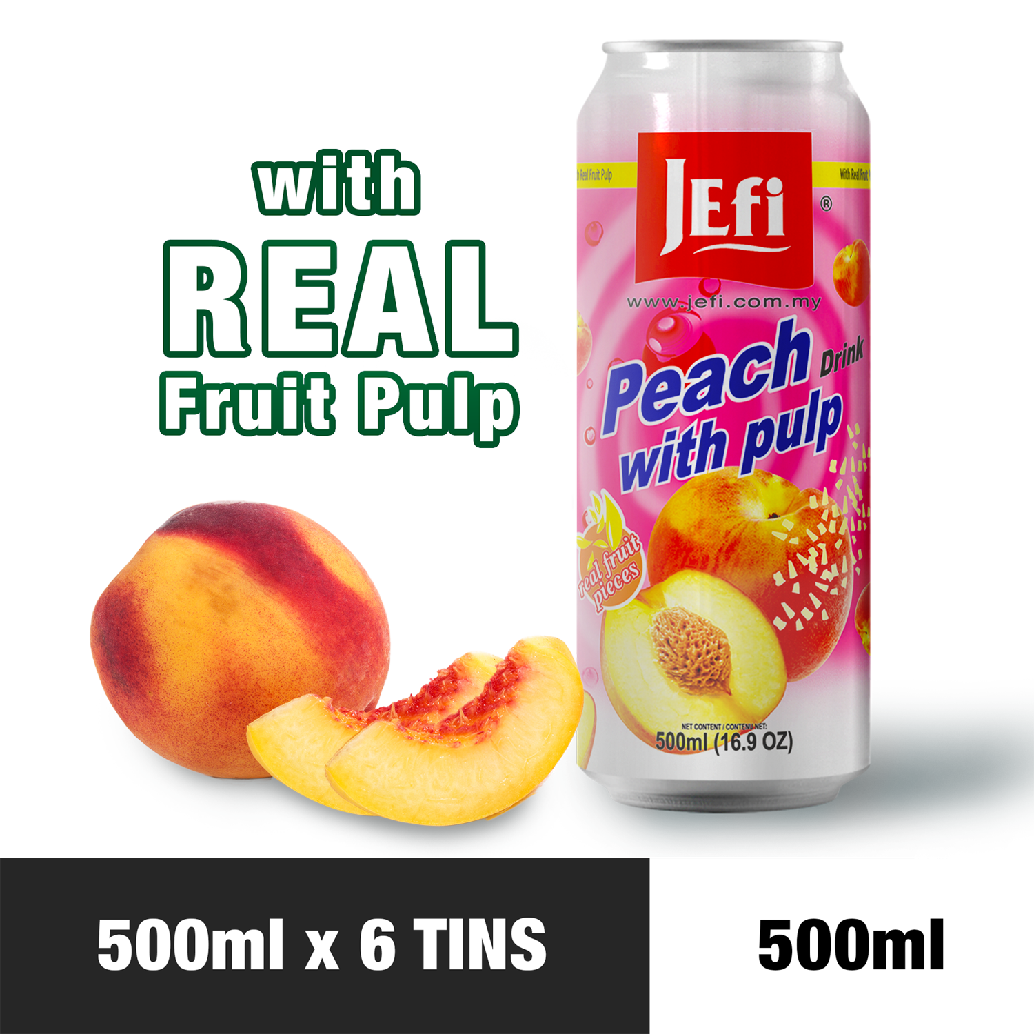 JEFI Peach Drink with Real Fruit Pulp (500ml x 6tins)