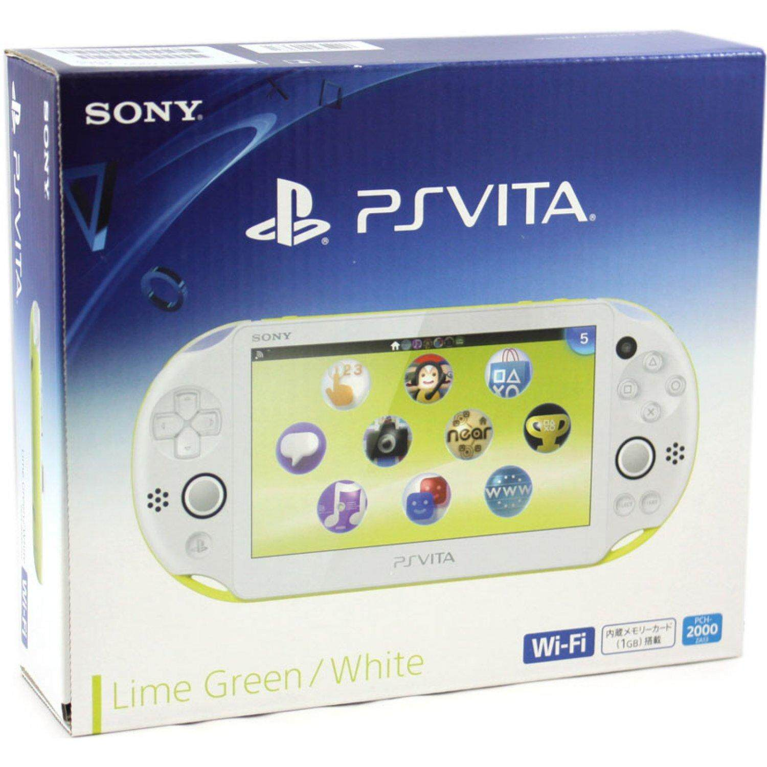 Sony PSVITA 2000 Mod(Include Game) Free 32 GB Memory Card + Accessories Full Set(LIME GREEN WHITE)