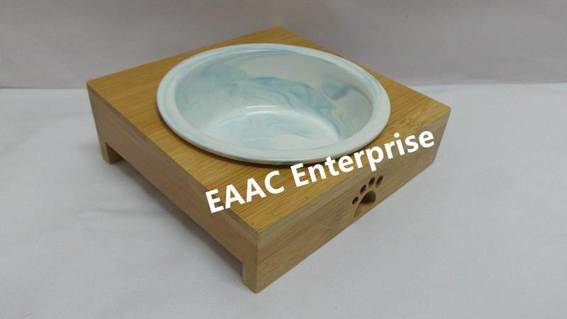 Carno Cat Feeding Bowl Ceramic Dish With Wooden Frame 5.5 x 5.5
