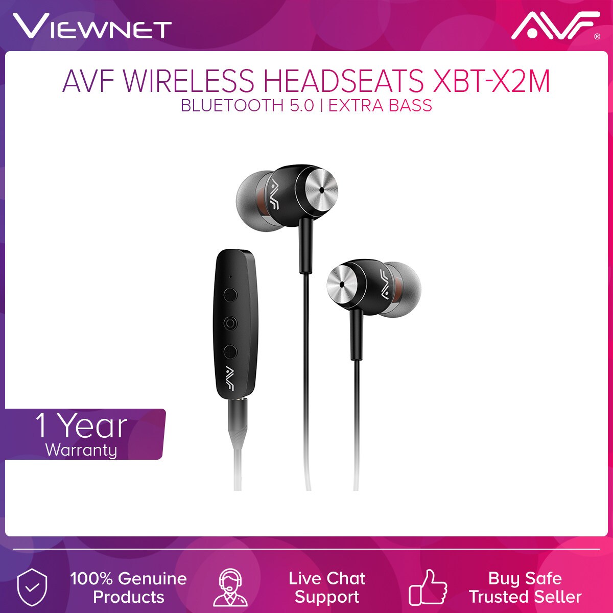 AVF Wireless Earphone HBT-X2M  with Bluetooth 5.0, Extra Bass,  Magnetic Suction for Easy Carrying, HD Transmission