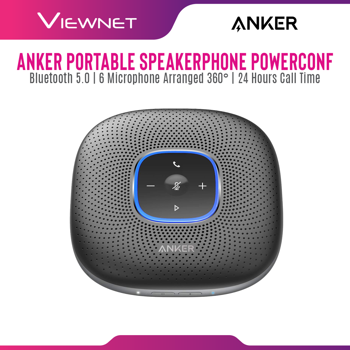 Anker Portable Wireless Bluetooth Speakerphone A3301 Powerconf with 6 Microphone Arrange 360°, DSP Reduces Ambient Noise, PowerIQ Technology, 24 Hours Call Time Lightweight and Compact