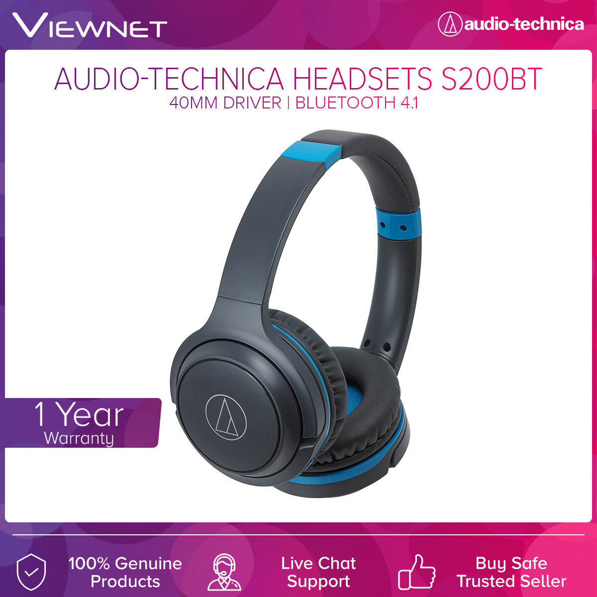 Audio-Technica Wireless Headsets ATH-S200BT with 40mm Driver, Bluetooth 4.1, 5 - 32,000 Hz Frequency, 40 Hours Battery Life