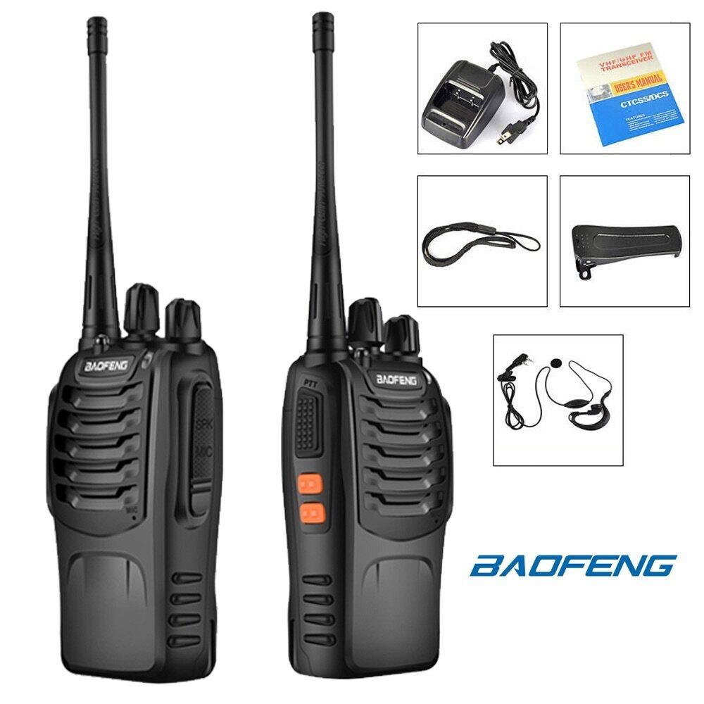 Walkie Talkie 5km Radius BaoFeng 888S-2pcs Range 16CH UHF 400-470Mhz Two Way Radio with Earpiece Portable Radio Station Set Handhold Waterproof Transceiver (2 Pack)