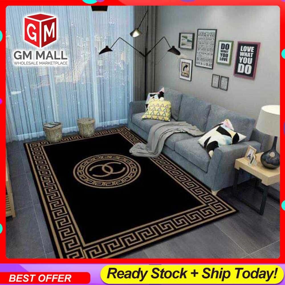 NEW DESIGN CARPET SIZE BESAR L/XL European Style Carpet Printed 3D Black Chanel Mat Floor - Karpet Bercorak 3D Waterproof/Living Room/Bedroom Material Velvet (C-20)