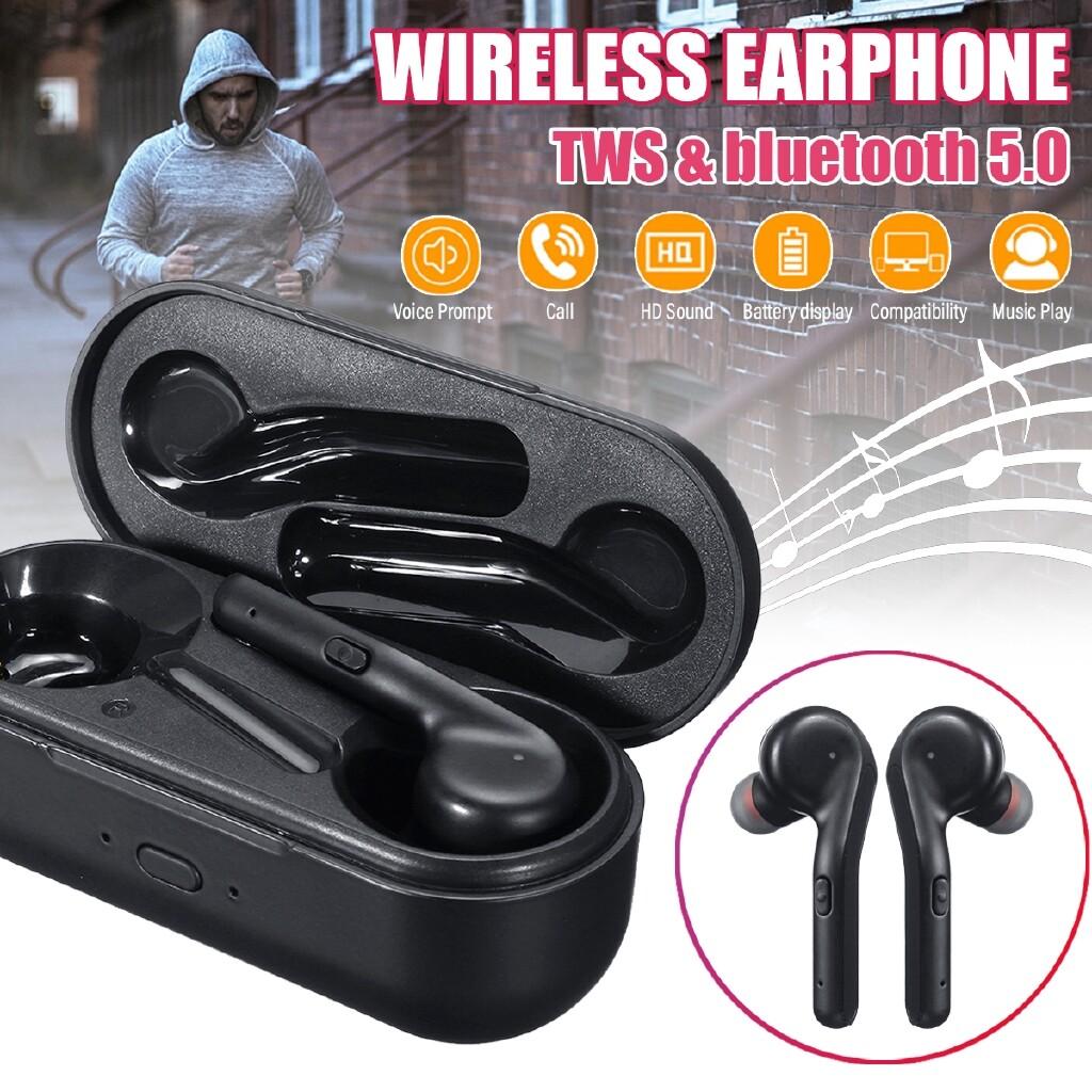 On-Ear Headphones - V5.0 Twins WIRELESS BLUETOOTH In-Ear Earphones Head SET Earbuds Headphone - BLACK / WHITE / PINK
