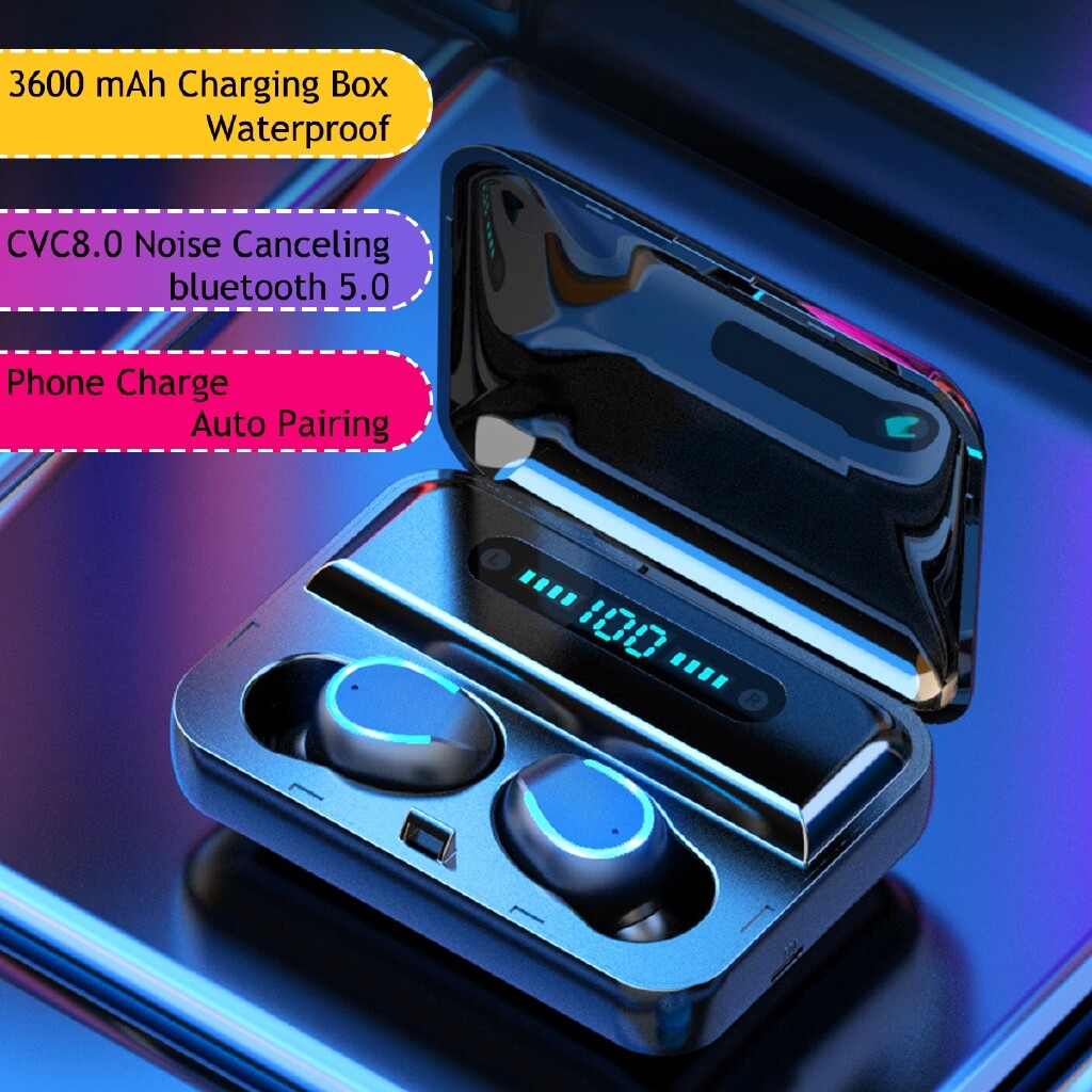 On-Ear Headphones - BLUETOOTH 5.0 Earphone Hi-Fi Waterproof Headphones 3600mAh LED Display Box - Audio