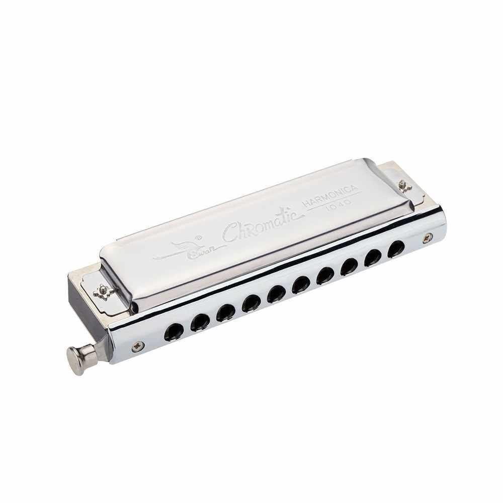 Swan Chromatic Harmonica 10 Holes 40 Tones Key of C Silver with Exquisite Box (Standard)