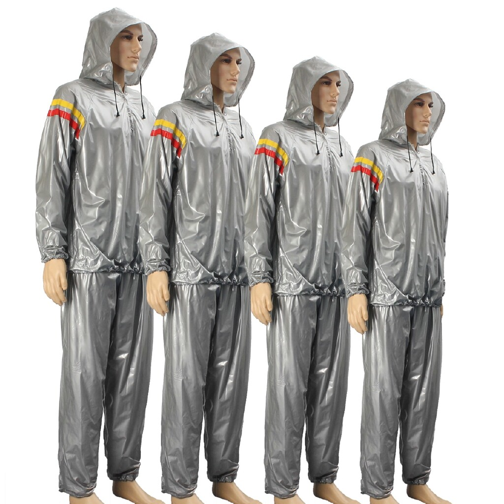 Accessories - Exercise clothing Suit Striped/no stripes ZJX fitness weight loss hat sauna suit - SILVER XL / SILVER 2XL / SILVER 3XL / SILVER L