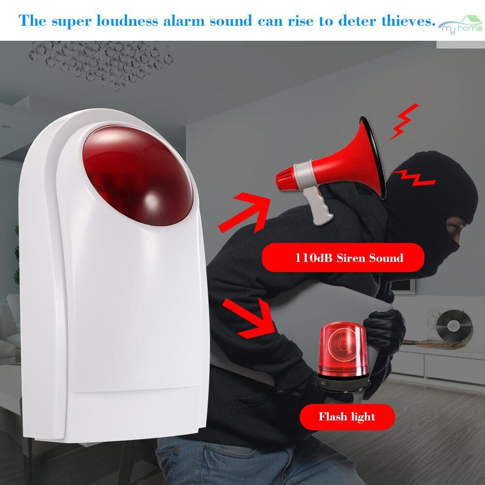 Sensors & Alarms - WIRELESS Sound Strobe Siren Alarm Host Flash Light Alarm Outdoor Waterproof Compatible with 433MHz - Security Surveillance