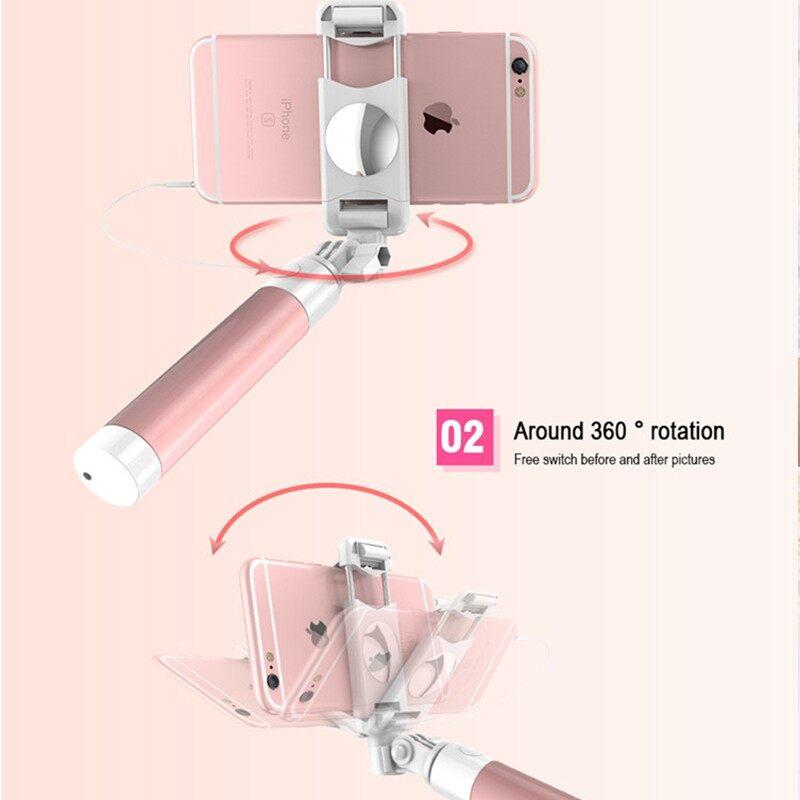 MINI Folding PORTABLE Mirror Wire-controlledselfie Stick Universal Mobile Phone - PINK / GREEN / BLUE / BLACK