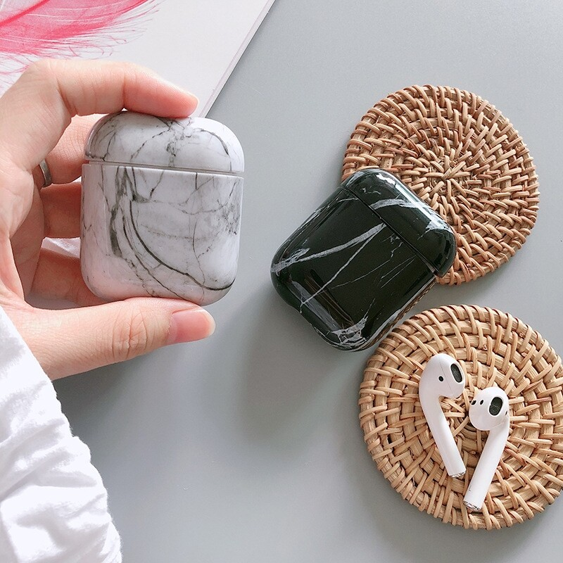 On-Ear Headphones - 1 PIECE(s) Marble Protective Cover Earphone Storage Case for Apple Airpods1/2 - WHITE / BLACK