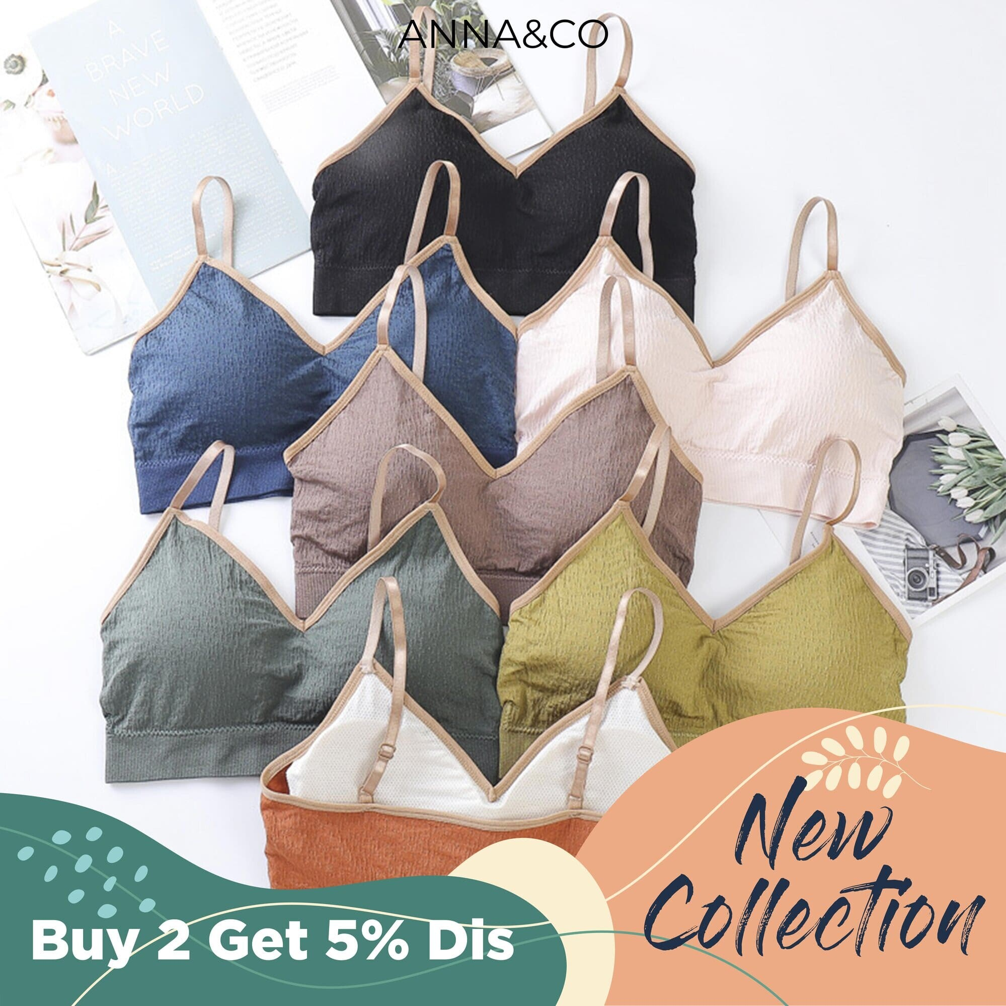 AnnaCo Irene Women Bras Fine Luxury Premium lingerie Stretchable Japan Korean Style Wireless Seamless 3D Push Up Breathable Singlet type Bra with Removable Pads Stretchable Sexy Thin Strip Bra Full Cup One Size Easy Wearing ONE SIZE 727 Irene
