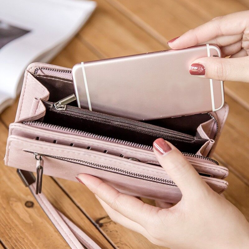 Gadgets - Universal Retro Women Zipper Card Slot Case Wallet Long Purse Phone Under 5.5'' - BLUE / RED / BLACK / GREY / PINK / WINE RED / GREEN