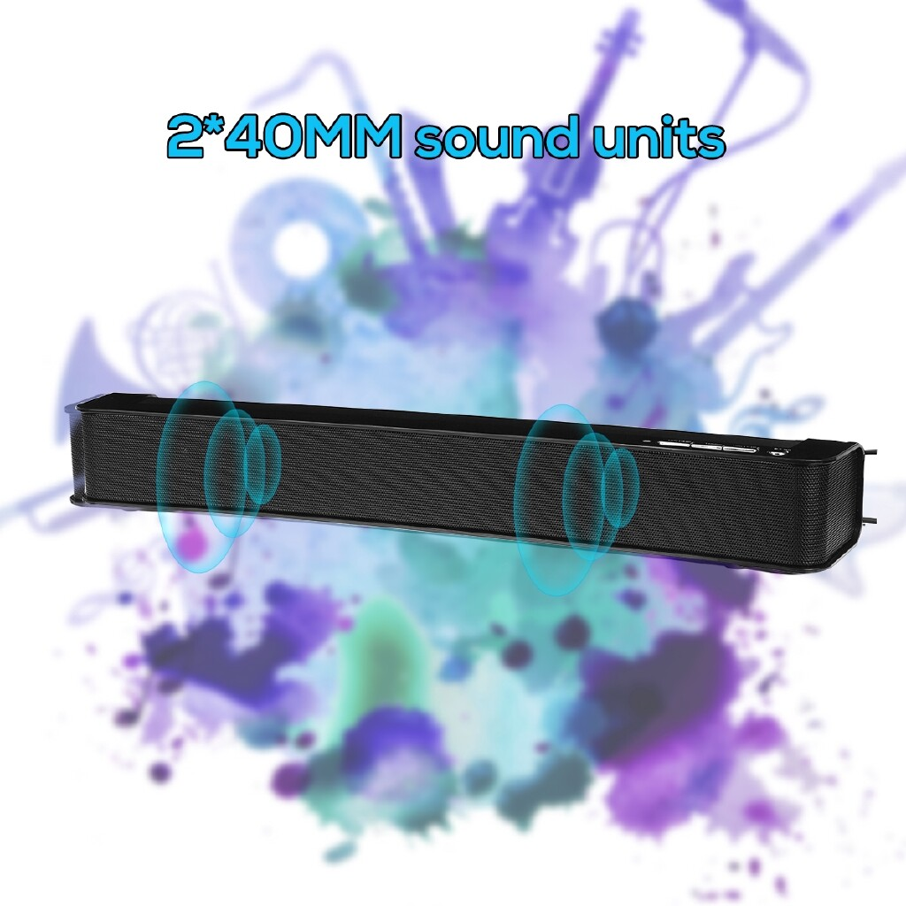 Projectors - 3.5mm USB Soundbar Stereo Computer Speakers PC TV Home Theater Subwoofer - WHITE BLACK / MATTE BLACK