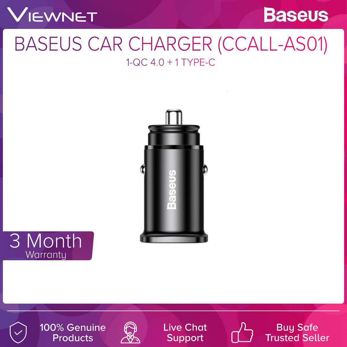 Baseus (CCALL-AS01) Car Charger In-Car 1-QC4.0 + 1-Type-c