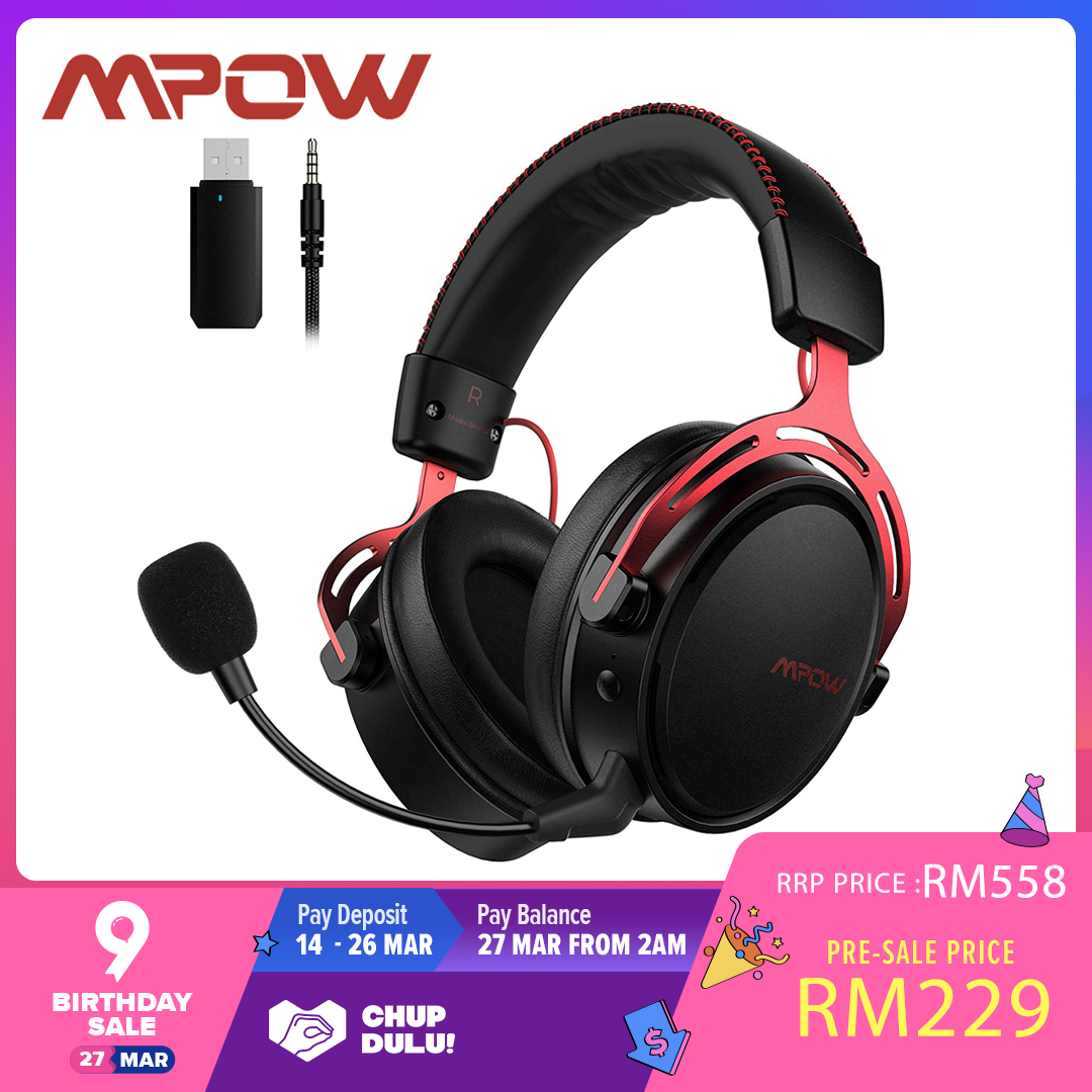 Mpow Air 2.4G Wireless Gaming Headset for PS4/PS5/PC Computer Headset with Dual Chamber Driver, 17-Hour of Wireless Use(Wired Optional), Noise Cancelling Mic, Bass, Over-Ear Gaming Headphones