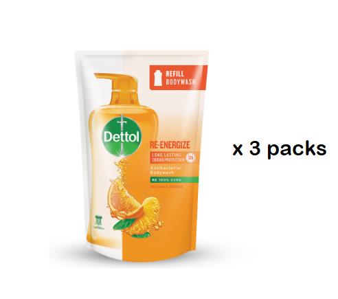 Dettol Shower Gel Body Wash Re-Energize Refill Packs (900ml x 3 packs)
