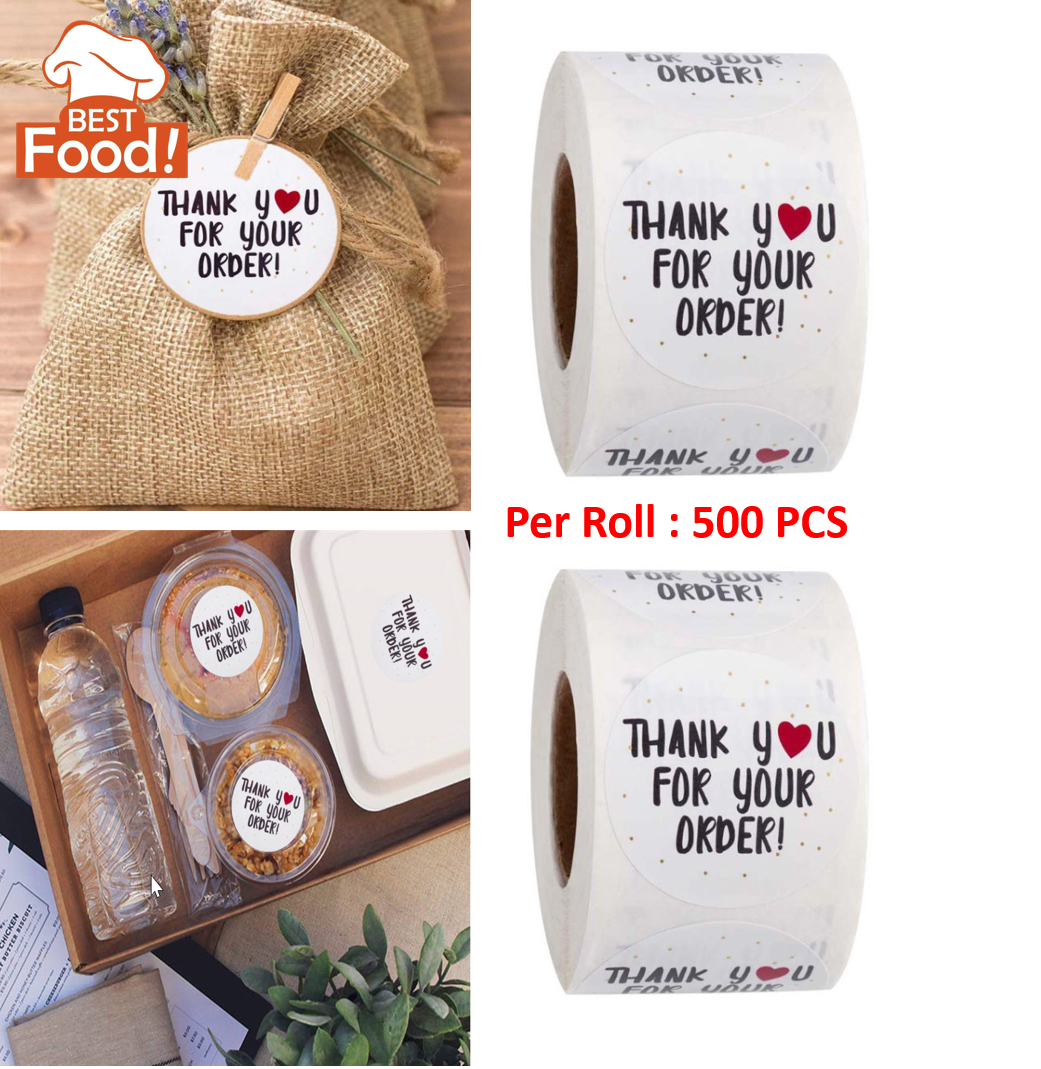 "(500 pcs) ""Thank You For Your Order"" Round Shape Sticker"