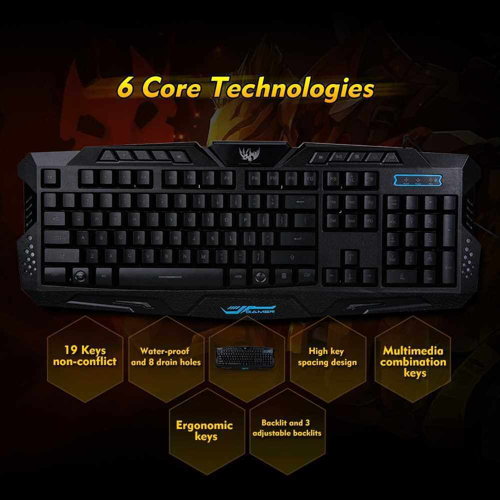 Gaming Keyboard Waterproof Characters Keyboard USB Wired 3-Level Backlit Keyboard Ergonomic Keyboard Switchable LX-K002 Mechanical Feel Gaming Keyboard (Standard)