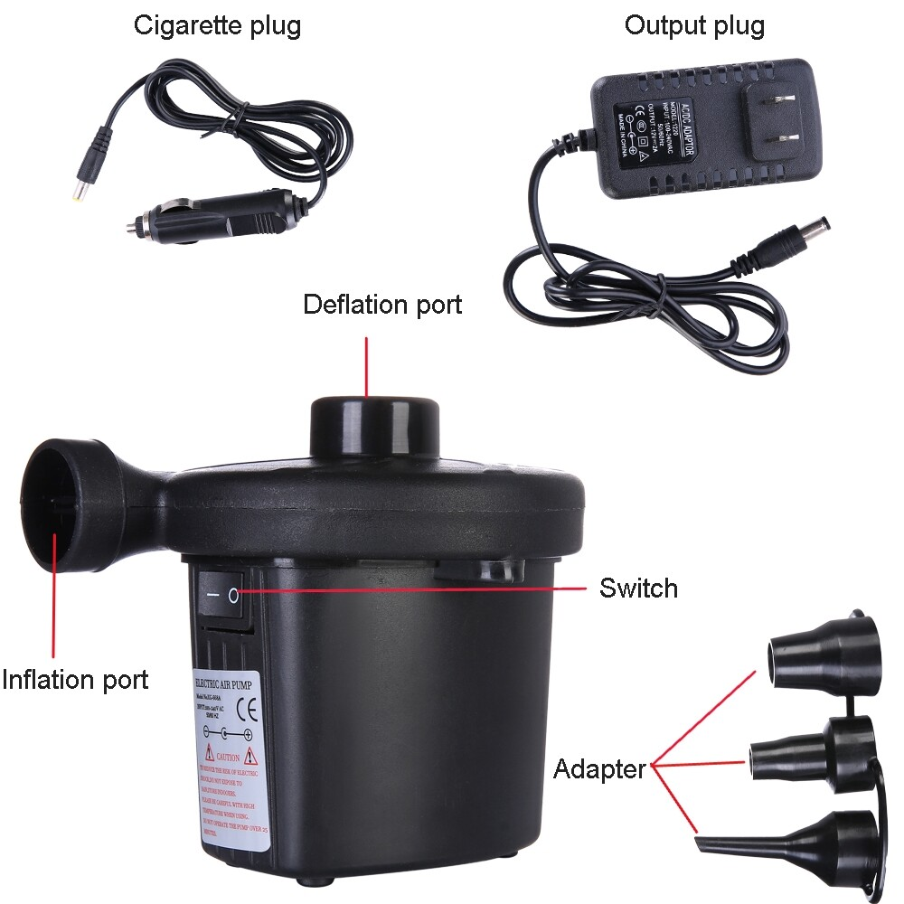DIY Tools - ELE ELECTRIC AIR PUMP INFLATOR FOR INFLATABLES CAMPING BED POOL 12V CAR 3 NOZZLE - Home Improvement