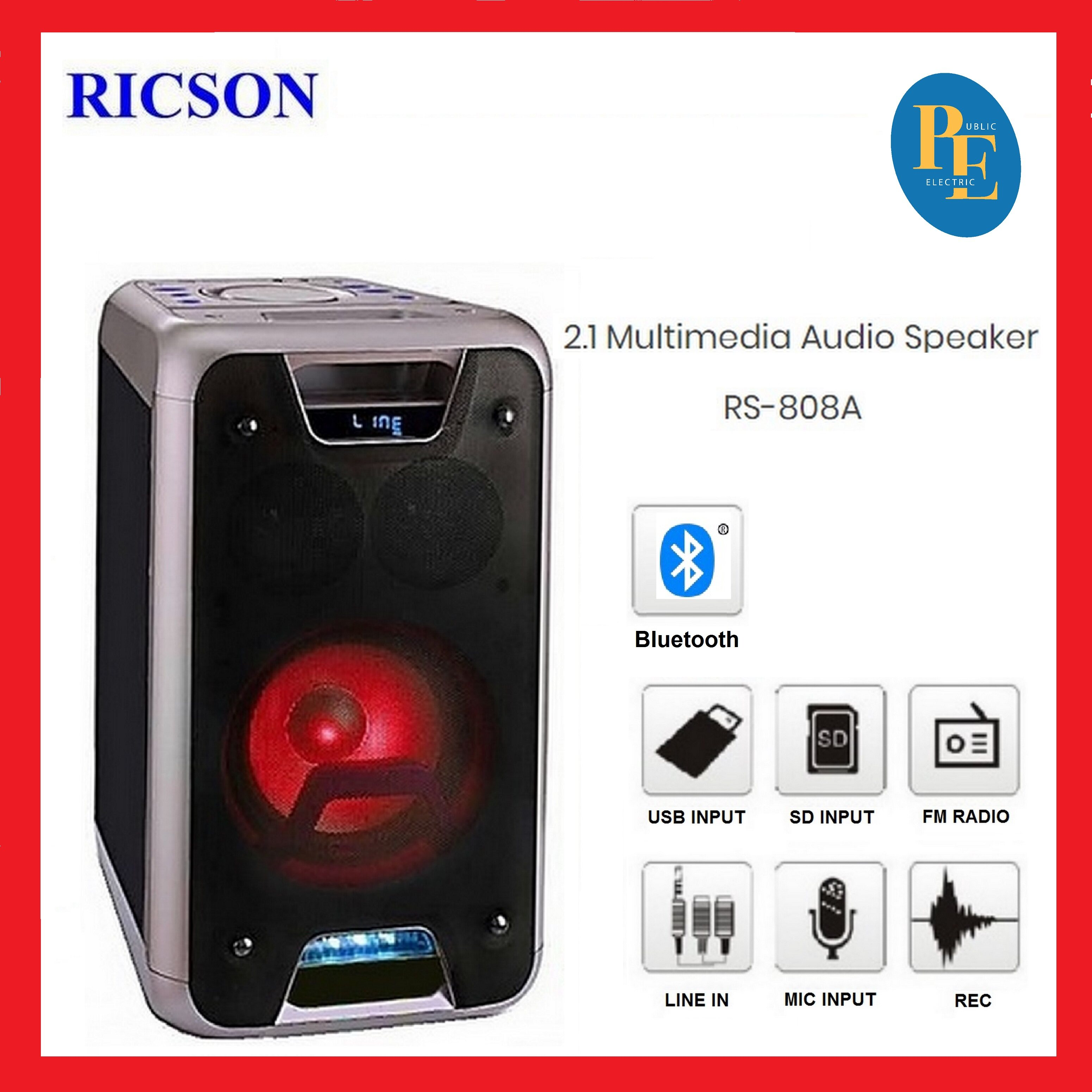 "Ricson 2.1 Multimedia Audio Speaker 8"" Woofer - RS-808A"