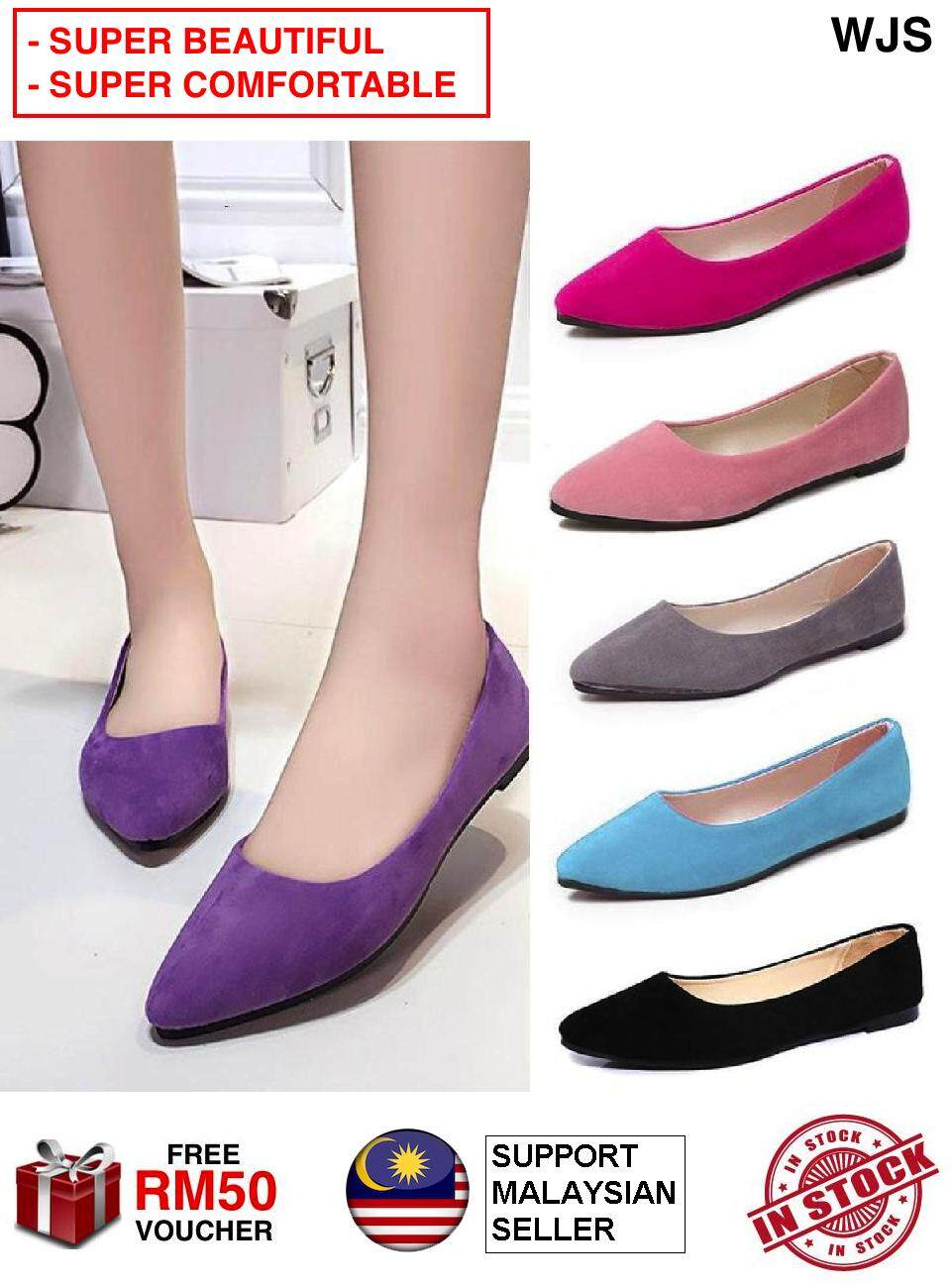 (SUPER COMFORTABLE & FASHIONABLE) WJS Women Casual Flat Shoes Women Shoes Pointed Shoes Comfort Flats Loaders Office Shoe Office Slipons Slip Ons Heels Fashion Shoe Work Kasut Perempuan MULTICOLOR [FREE RM 50 VOUCHER]