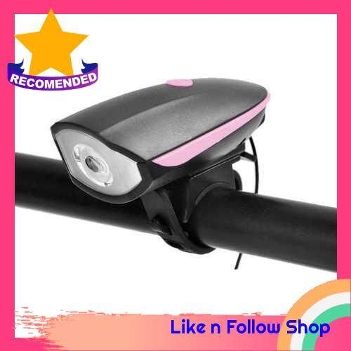 Bike Light with Loud Bike Horn 2in1, Rechargeable Bicycle Front Light Waterproof Cycling Bell Lights, Bicycle Light Front with 5 Modes Sound Siren,3 Lighting Modes,Pink (Pink)