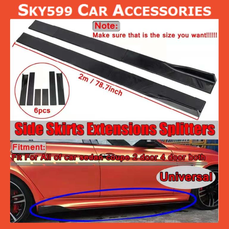 Universal Side Skirt BLACK Extensions Rocker Panel Splitters Lip Polypropylene 200cm