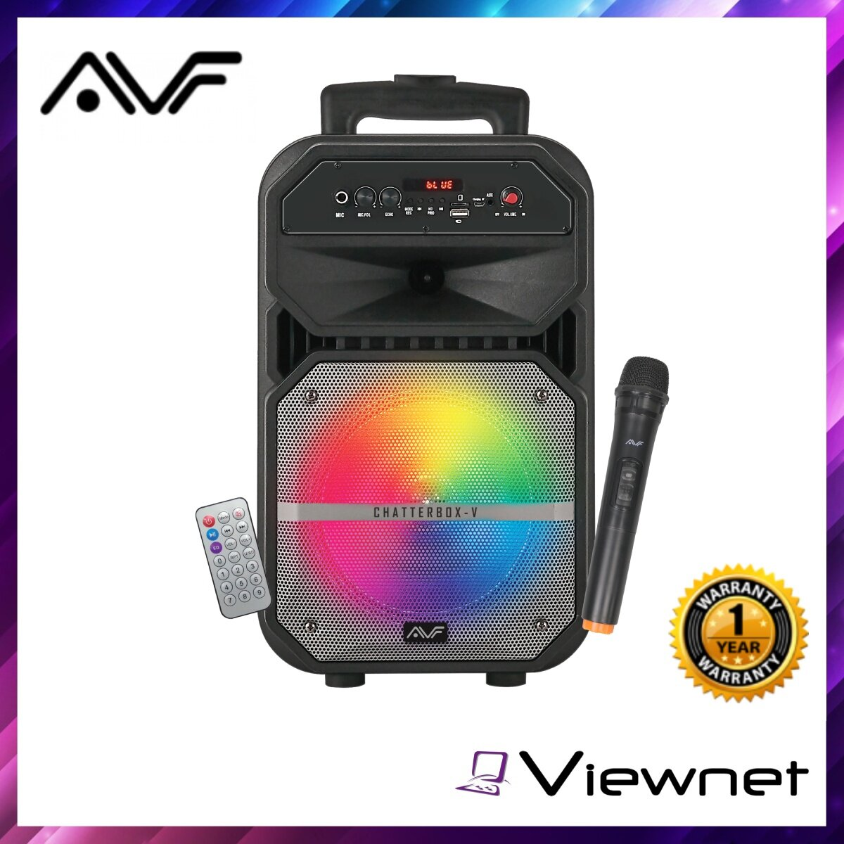 AVF Chatterbox-V Portable Trolley Speaker (CHATTERBOX-V), AUX, USB, Karaoke Function, Voice Recording, Echo Adjust, Wireless Bluetooth, 80 Watt SRS Output Power