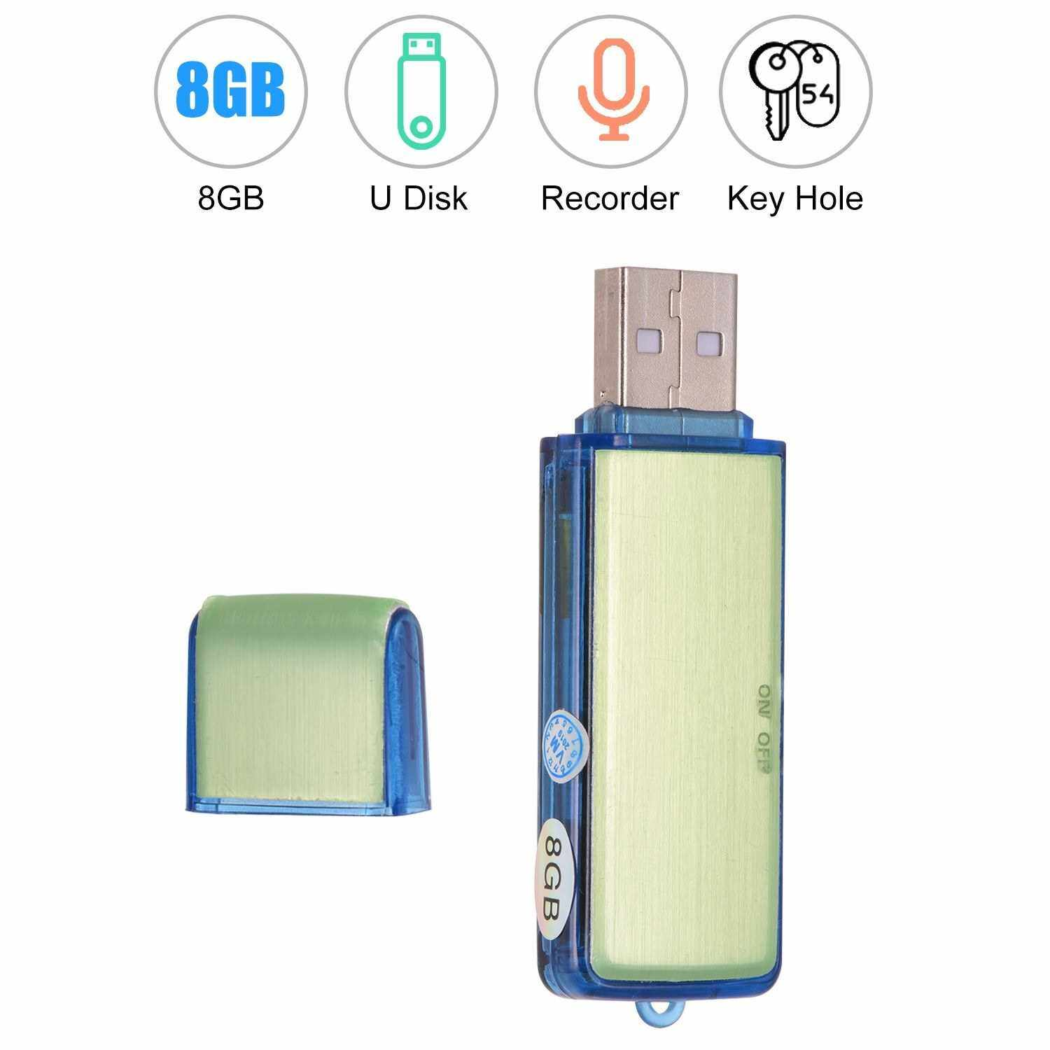 Mini USB Digital Voice Sound Recorder U-Disk Recorder One-Button Recording Rechargeable 8GB Capacity for Meeting Lecture Interview (Standard)