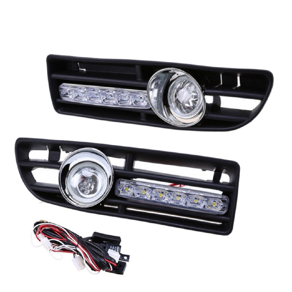 Engine Parts - 2X Lower Bumper Fog Light Grille & LED DRL for VW Bora Jetta MK4 1999-2007 - Car Replacement