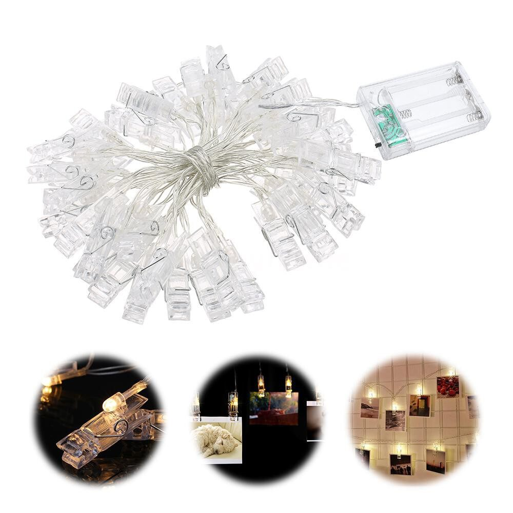 Lighting - 40 LEDs Photo Clip String Light Battery Powered 5M/16.4FT for Living Room Bedroom Party - #