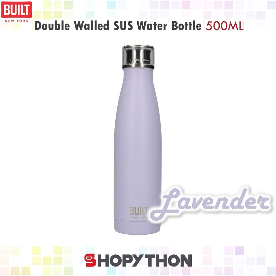 BUILT NY Double Walled Stainless Steel Water Bottle 500ml (Lavender) Thermal Flask Hot Water Bottles Container Vacuum-Insulated Perfect Seal Design