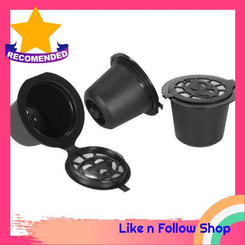 3pcs/set Reusable Coffee Capsule with Spoon and Brush Set of 3 Coffee Filters for Nespreso Brewing Machine