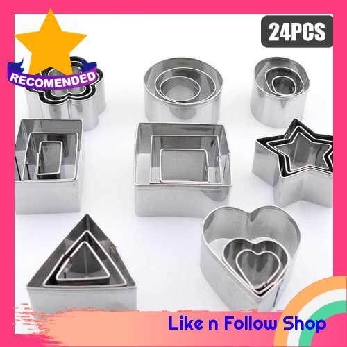 24PCS Cookie Cutters Set with Stainless Steel Box Polygon Shape Biscuit Bread Fondant Cutters Mousse Cake Cutter Baking Mold Pastry Baking Tool for Birthday Party Dessert Restaurant Kitchen Gadgets (Standard)
