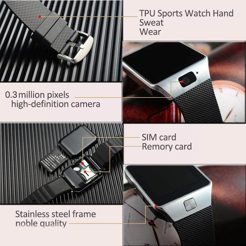 LATEST DZ09 BLUETOOTH Smart Watch Camera SIM Slot For HTC Samsung Android Phone - BLACK-NO CARD / GOLD-NO CARD / WHITE-NO CARD / SILVER-NO CARD / BLACK+8G / GOLD+8G / WHITE+8G / SILVER+8G / BLACK+16G / GOLD+16G / WHITE+16G / SILVER+16G / BLACK+32G /
