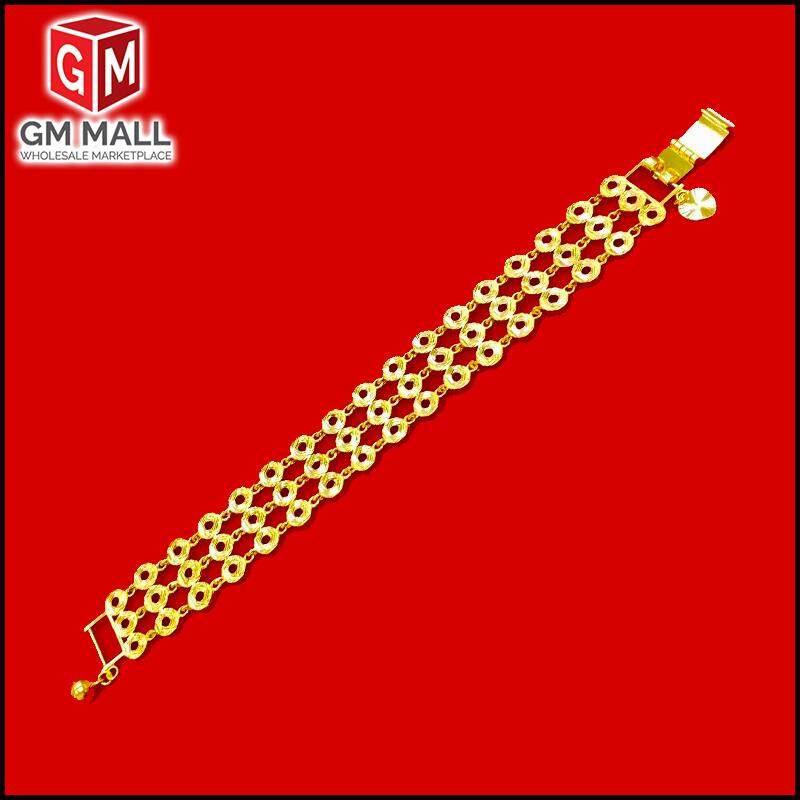 Emas Korea Jewellery - Rantai Tangan Triple Line Bulat Gold Plated (Bracelet EK-2001-6)