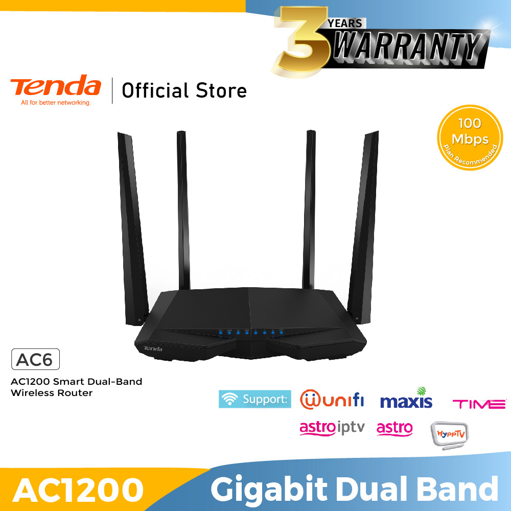 Tenda AC6 AC 1200 High Power WIRELESS Wifi Router