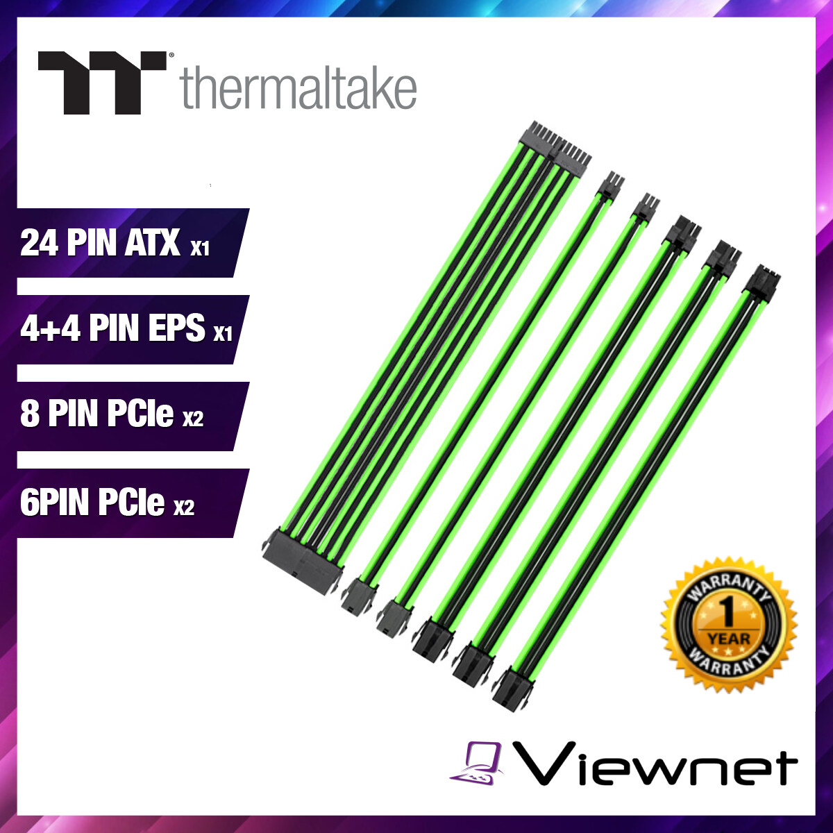 THERMALTAKE TTMOD POWER SUPPLY EXTENSION SLEEVE CABLE SET 300MM BLACK/GREEN (AC-034CN1NANA1)