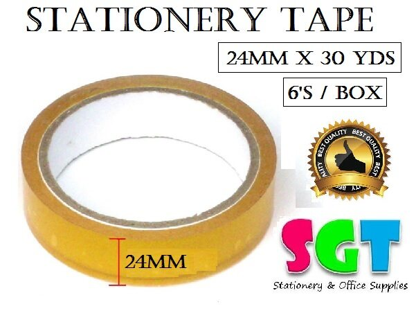 FIX  Stationery Tape 24mm x 30 Yds (6`s/Box)