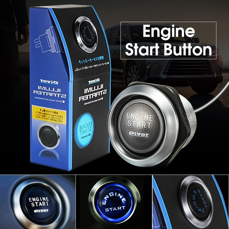 Engine Parts - Engine Start Blue LED Button Push Switch Starter - Car Replacement
